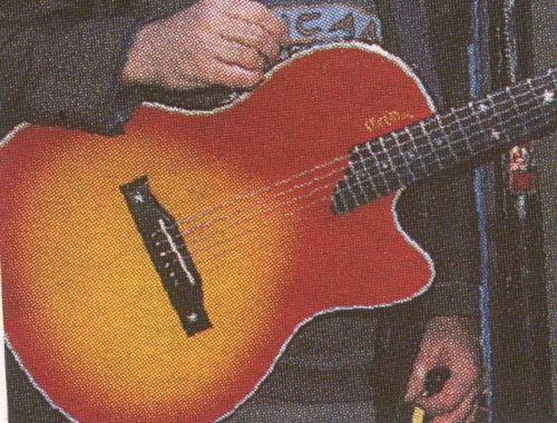Rød og gul guitar